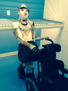This bright-eyed, mobile model demonstrates some of the extensive prosthetics that Mary Free Bed provides their patients being rehabilitated with injuries from head to toe.