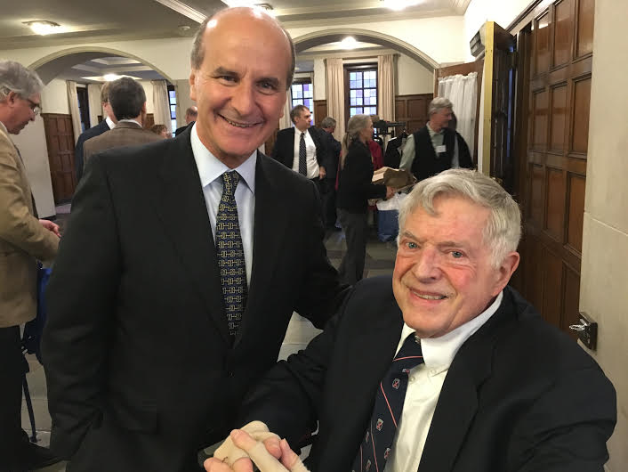 Jose Maria Figueres, former president of Costa Rica who delivered the 14th annual Peter M. Wege Lecture at the University of Michigan March 28, 2016, is pictured with Dr. Jonathan Bulkley, retired professor in the School of Natural Resources and the Environment and former co-chairman of the Center for Sustainable Systems. In 2011 Peter M. Wege and The Wege Foundation created the Jonathan W. Bulkley Collegiate Professorship in Sustainable Systems to honor Dr. Bulkley's distinguished career of 43 years at SNRE as well as the close friendship between Peter and the professor that began in 1991 and lasted until Wege died in 2014. At the dinner following the lecture, SNRE faculty member Shelie Miller was announced as the first recipient of the five-year Bulkley Professorship. Dr. Miller's most recent honor is a Jefferson Fellowship given by the National Academy of Science for a year's assignment with U.S. Agency for International Development to end global poverty.